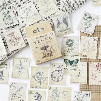 45 unids/caja bosque Post Stamp pegatinas decorativas pegatinas de decoración DIY pegatinas de papelería para diario niños regalo