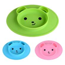Baby Silicone Bear Shaped Plate Mat Silicone Suction Tray Non-slip Small Mat Infant Kids Meal Fruits Tray Toddler Green Placemat(China)