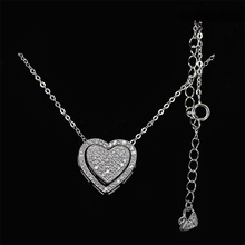 Idea Design Heart Necklace Many Ways to Wear Necklaces Fashion 925 Sterling Silver Jewelry CZ Paved Hearthstone Peach Necklace