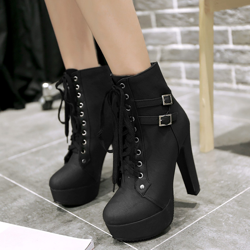 Womens Ladies High platform Block Heel Buckle Ankle Boot Vogue Plus SZ Shoes New