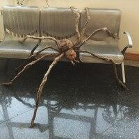 Гигантский волосатый паук со светодиодный ными глазами для украшения Хэллоуина
