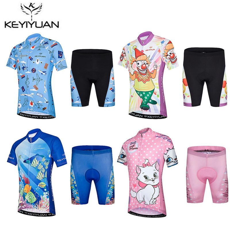 KEYIYUAN Children Cycling Clothing Boys Girls Short Sleeve Jersey with Pad Shorts Set Bike Team MTB Ropa Ciclismo Kids Sportwear цены