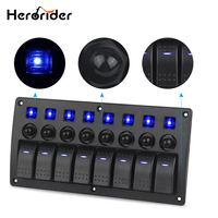 8 Gang Switch Panel Car Styling Waterproof 12V Car Auto Boat Marine Red Led Rocker Switch Panel Circuit Breakers With Fuse