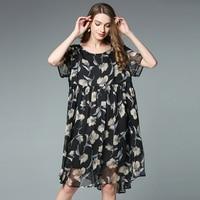 2017 Plus Size Elegant Women Floral Print Chiffon Dress Summer High Waist Fashion Lady S Pleated