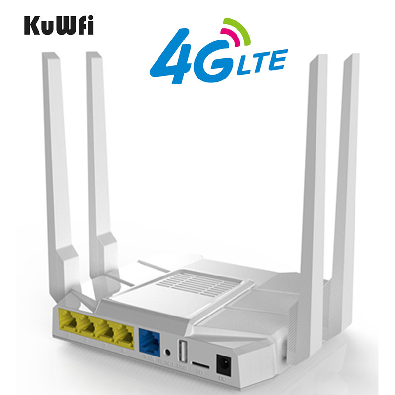 KuWfi 4G LTE Wifi Router 1200Mbps Dual Band Wireless Router 11AC 2.4Ghz&5.8Ghz Wireless CPE With Sim Card/LAN Port