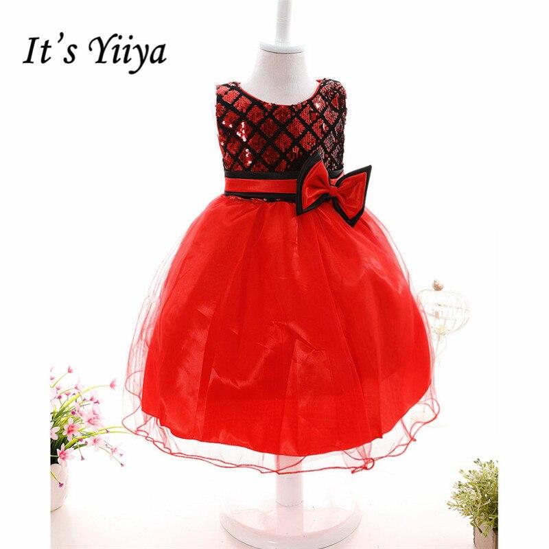 It's yiiya Bling Sequined   Flower     Girl     Dresses   Bow Knee-length Princess Ball Grown O-neck Sleeveless Tank   Girls     Dress   808
