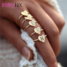 ffa217899394 Amor corazón inglés letra A-Z anillos tamaño abierto inicial alfabeto anillo  amantes amigos Mejores Regalos fiesta compromiso bo.