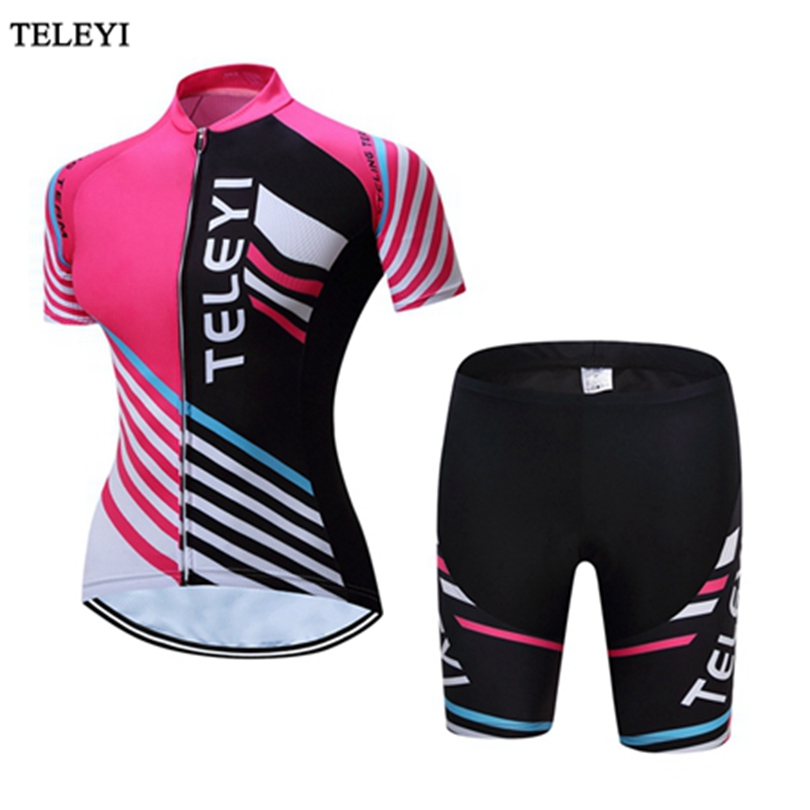 TELEYI Pink MTB Bike Jersey Women's Cycling Jersey Cycling Clothing Girls Ropa Ciclismo Riding bicycle Top Maillot Breathable teleyi bike team racing cycling jersey spring long sleeve cycling clothing ropa ciclismo breathable bicycle clothes bike jersey