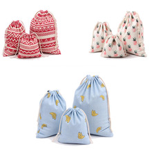 15 styles 3 Size Printing Ulrica 2016 New Arrival Gift Bags for Men Women Cotton Canvas Pouch Drawstring Candy Bags Gift Bags