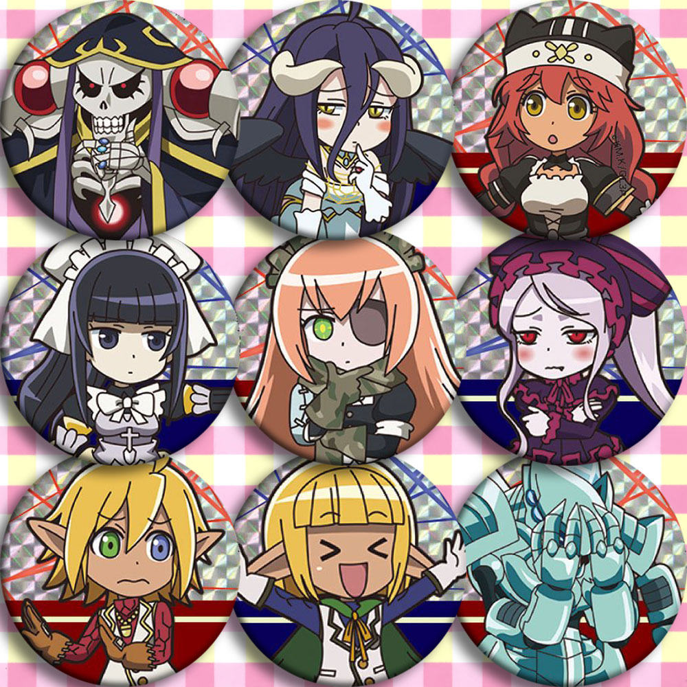 Japan Anime OVERLORD Painted Bones Cosplay Badge Cartoon Collection Bags Badges For Backpacks Button Clothes Brooch Pins Gifts