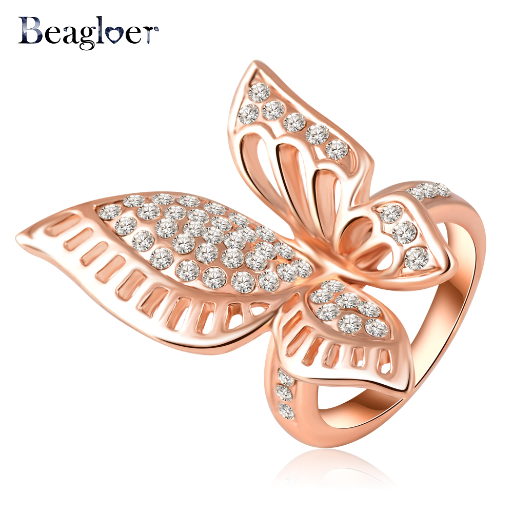 Beagloer Rose Gold Plating Classic Beautiful Butterfly Engagement Rings With Austrian Crystals Wedding Jewelry Ri-HQ0195