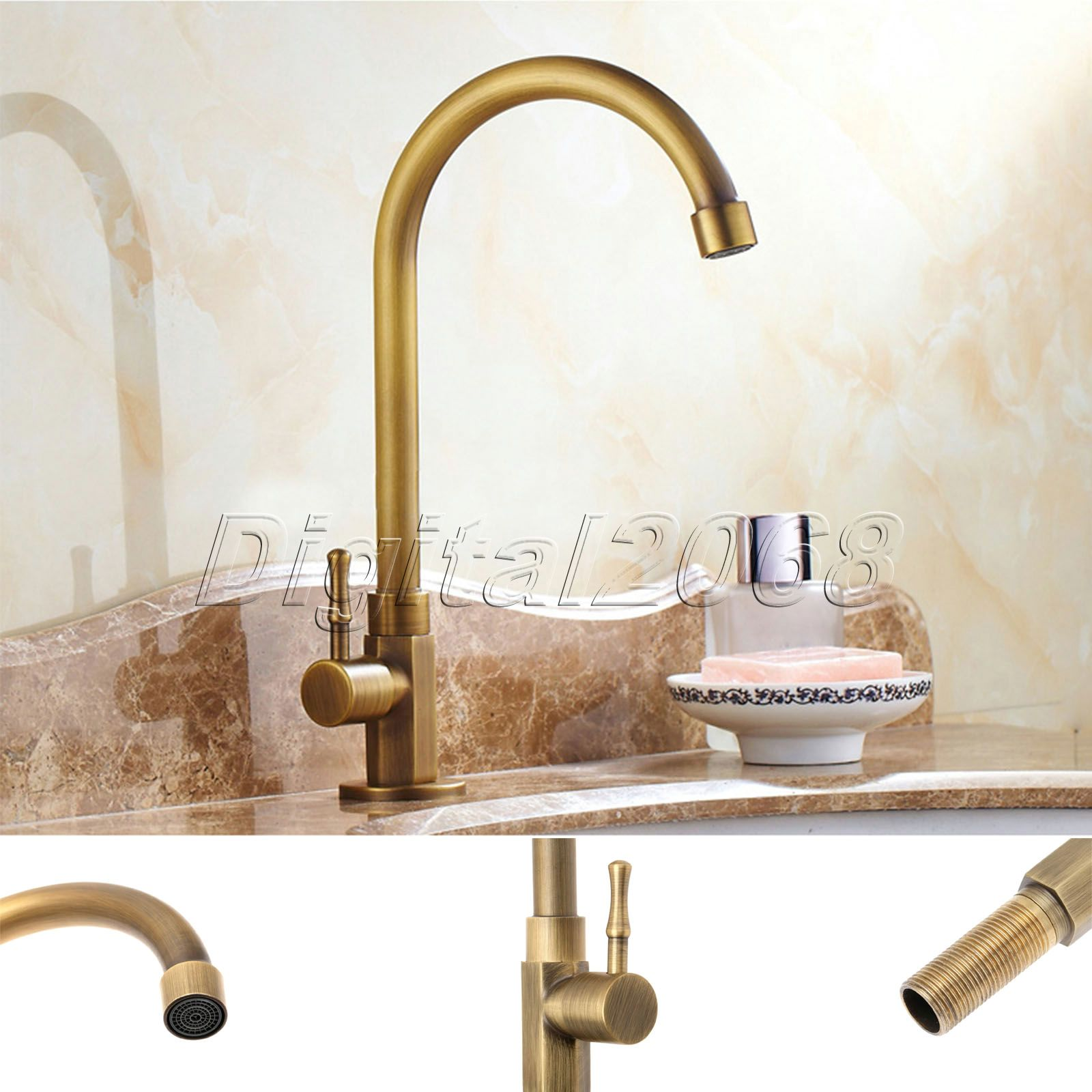 Brass Antique Luxury Bathroom Kitchen Sink Faucet Ceramic Valve Single Handle Swivel Spout