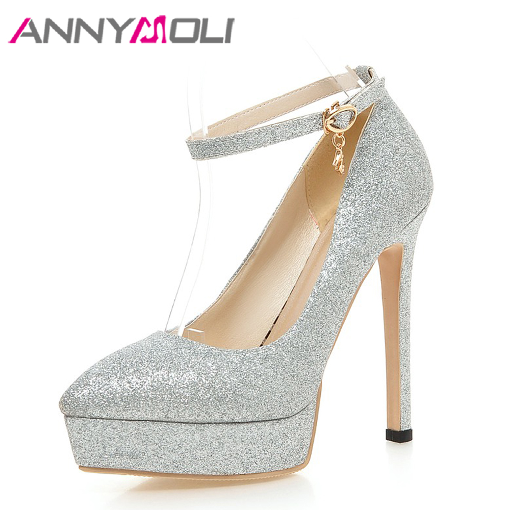 ANNYMOLI Women Pumps Platform High Heels Party Shoes Ankle Strap Buckle Stiletto Bridal Shoes Bling Ladies Pumps Red Size 33-43