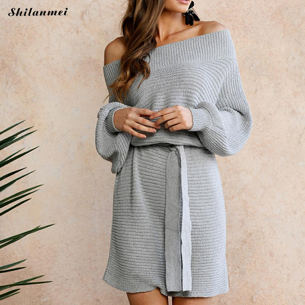 2018 Autumn Loose Off Shoulder Woman's Sweater Dress with Belt Bow Knitted Sexy Office Ladies Fashion Dresses