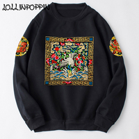 Chinese Imperial Style Crane Dragon Exquisite Embroidery Crew Neck Sweatshirts Long Sleeve Pullovers Retro O Neck