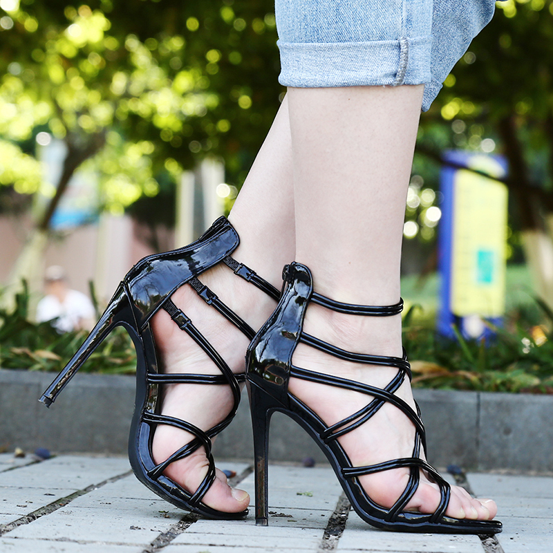 Fashion PU Leather Sandals For Female Ladies Spring Summer Thin High Heels Cross Straps Simple Sexy Women Shoes Plus Size 43Fashion PU Leather Sandals For Female Ladies Spring Summer Thin High Heels Cross Straps Simple Sexy Women Shoes Plus Size 43