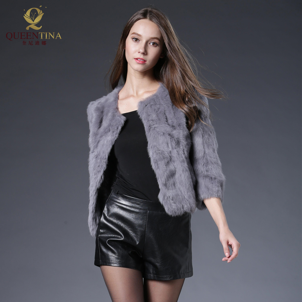Hot Women Real Rabbit Fur Coat Natural Rex Rabbit Fur Coat O Neck Fashion Slim Thin