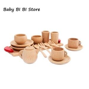 Image 1 - Outils de vaisselle en bois théière tasse à thé thé fête jouer jouet maison de poupée Miniature cuisine vaisselle accessoires pour enfants jouets