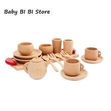 Utensílios de mesa de madeira ferramentas bule de chá xícara de chá teatime party play brinquedo casa de bonecas em miniatura utensílios de cozinha acessórios para crianças brinquedos