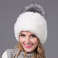 New mink fur knitted fox fur ball cap high quality female winter warm hat casual fashion headdress BZ 10