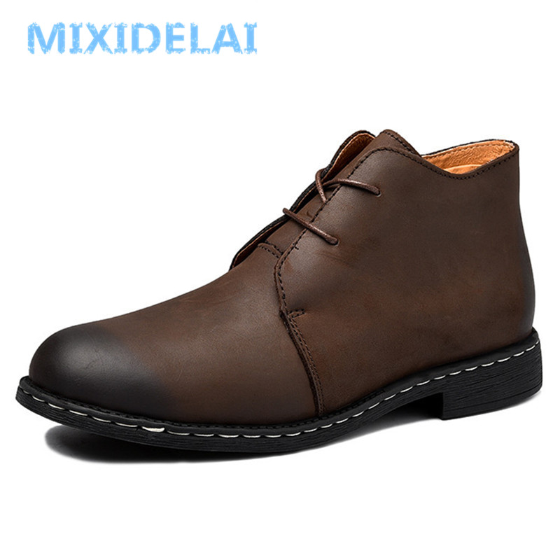 British Style Vintage Men Boots Crazy Genuine Leather Martin Men Autumn Boots Water Proof Work Hiking Winter Ankle Boots Shoes 2017 new british style genuine leather men boots super warm men ankle boots martin casual winter boots winter men shoes