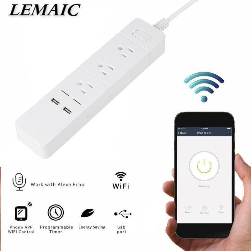 LEMAIC WiFi Smart Socket WiFi Smart Plug w/ 3 AC Outlets 2 USB Charger Work with Amazon Alexa App Remote Control AC 125V US Plug lemaic wifi smart socket t support amazon w app alexa voice control remote control timing function for ac 110 240v us plug