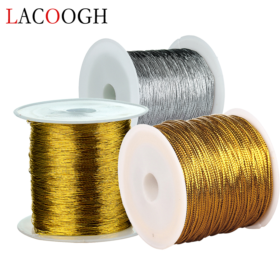 Gold Color 1 Roll 50 40 Meters Diameter 0.15 1mm Width Waxed Thread Cotton Cord String Strap Rope Bead For DIY Jewelry Makings