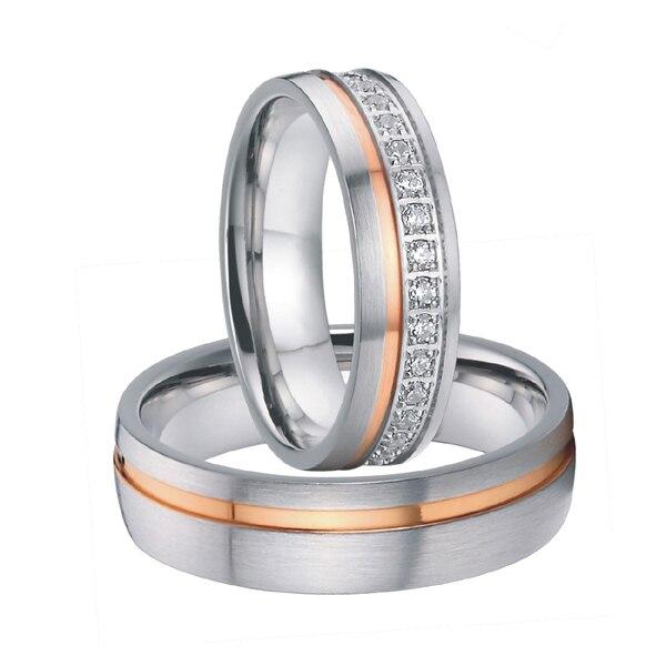 luxury cubic zirconia rose gold color titanium steel wedding rings sets for men and women 2015 alliances