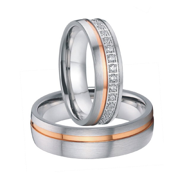 luxury cubic zirconia rose gold color titanium steel wedding rings sets for men and women 2015 alliances