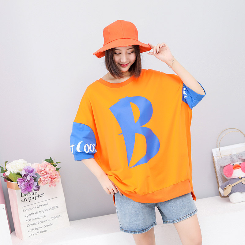 2019 Summer New Arrival Plus Size Women Tshirts Collision Color Patchwork T Shirt Loose Tee Shirts Letter Tshirt Free Shipping