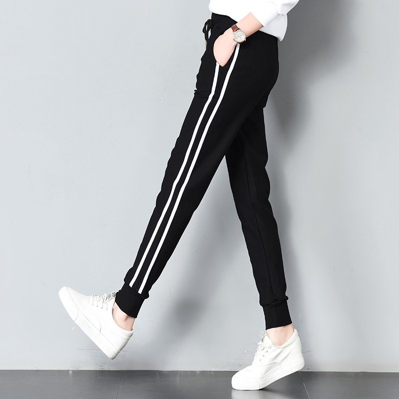 Long Leisure Pants Women Bottoms Autumn Spring Female Clothes Double Striped Jogger Haren Pants Sweatpants Sportswear Trousers(China)