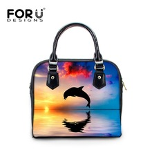 FORUDESIGNS Women Tote Bag High Quality PU Leather Top Handle Handbag Dolphin Shoulder Bags Casual Female Crossbody Bags Bolsas