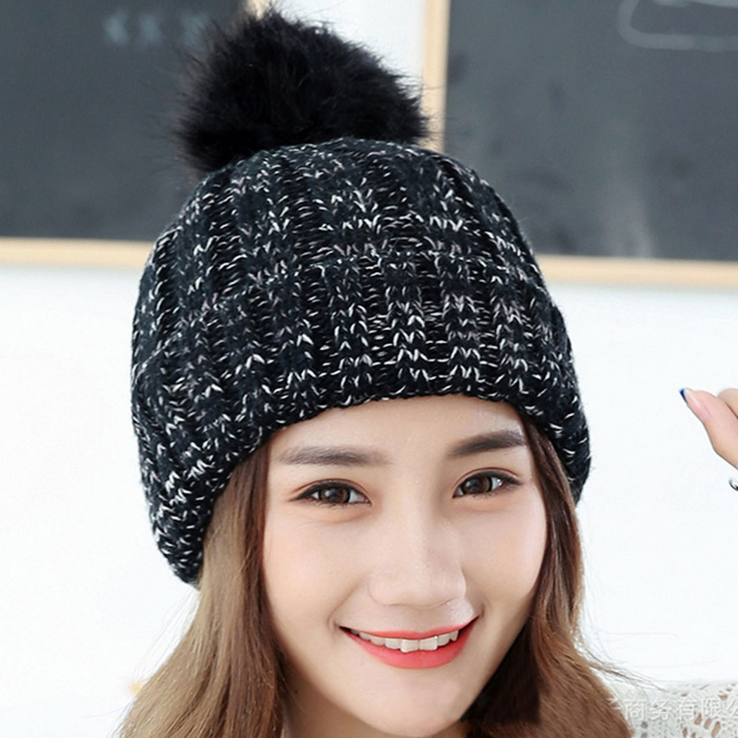 Winter Beanies For Women Knitted Acrylic Hats Big pompom caps Korean style Knit Skullies And Beanies female causal hats Gorros chsdcsi pleuche women turban caps twist dome caps head wrap europe style india hats womens beanies skullies for fall and spring