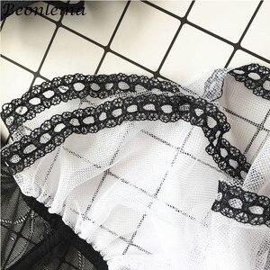 Image 5 - BEONLEMA Transparente Mulheres Sexy Bustier Clubwear Lingeries Preto Underbust Corset Top Bustier Rendas Vestido Lolita Bayan Korse