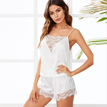 Women Summer Sexy  Sleeveless Spaghetti Strap Pajamas Nightwear LaceTop shorts Pajama Sets Sleepwear For