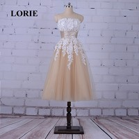 LORIE Tea Length Prom Dress for Graduation Strapless A-Line Appliques with Lace Beaded with Pearls Tulle Champagne Evening Dress