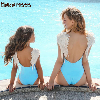 Mom Daughter Swimsuits Angel Wing Mommy And Me Clothes Family Look Mother Daughter Swimwear One-piece Mum And Girl Bikini Suit mother daughter swimsuits family look mom and daughter swimwear unicorn family matching bathing suit mommy and me bikini clothes