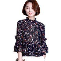 2017 Spring Summer Women Long Sleeve Flower Printed Blusas Soft Chiffon Plus Size 3XL Blouses High