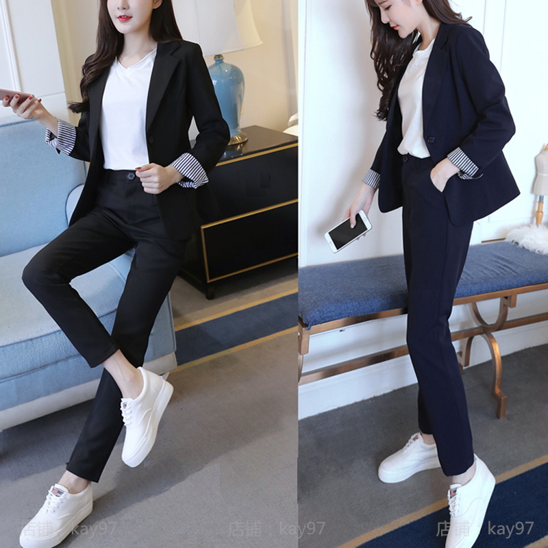 Woman suits lady suit office spring casual British wind business professional OL solid color jacket + pants two-piece suit