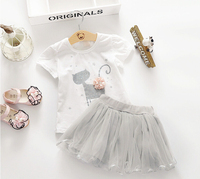 Lovely Cat Character T-Shirts and Kids Solid Ball Gown Skirts Baby Girls Princess Summer Clothing Children Clothes 5sets/LOT