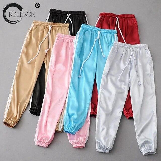 2a24bce38e78 ORDEESON 10 Colori Pantaloni Della Tuta Pantaloni Donna 2017 Jogging Casual  Baggy Lato Rosa Strisce Vita