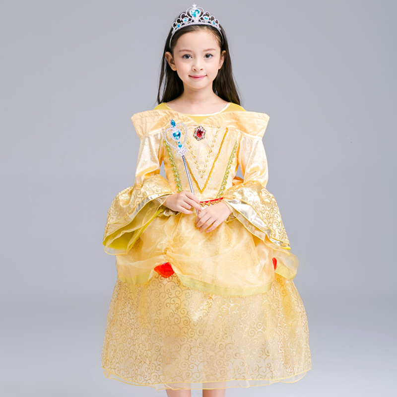 New Girls Princess Belle Dresses Autumn 2017 Children's Clothing Baby Girl Beauty and the Beast Dress Kids Party Wear Clothes baby girls white dresses for wedding and party wear girl princess dress kids lace clothes children costume age 3 4 5 6 7 8 9 10