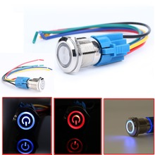 2 pcs 19mm 12V Car Blue / Red LED Metal Push Button ON OFF Toggle Switch + Socket Plug For Auto 1NO 1NC Switches 2pcs set