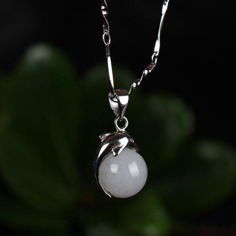 Yu xin nhân dân tệ bạc 925 Ngọc vòng ngọc trai bạc dát với mặt dây chuyền cá heo quyến rũ hợp thời trang vòng cổ mặt dây chuyền