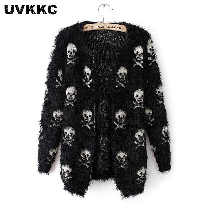 UVKKC Women Cardigans Sweater Skull Pattern 2019 Female Mohair Knitted Cardigans Black White Autumn Cardigans Sweater For Women