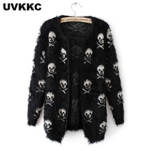 UVKKC Women Cardigan Sweater Mohair Skull Pattern Female Knitted Open Stitch Knitwear Black White Autumn Cardigans Sweater white open front floral print cardigans
