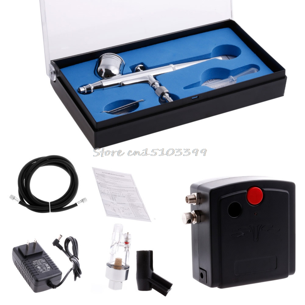 ФОТО New Portable 100-250V Dual Action Gravity Feed Airbrush Air Compressor Kit T100K -Y121 Best Quality