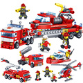 348pcs Fire Fighting Car Helicopter Boat Building Blocks Compatible legoed City Firefighter Bricks Childrens Enlighten Toy