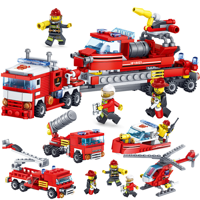 348pcs Fire Fighting Car Helicopter Boat Building Blocks Compatible legoed City Firefighter Bricks Childrens Enlighten Toy sembo toy military watchtower building blocks bricks compatible legoed city action toy figures enlighten bricks toy for children