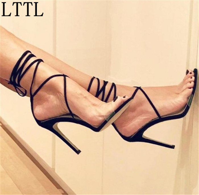 d73e9d10023 LTTL Summer 2017 Sexy Women Shoes Black Nude Suede Ankle Cross-tied Lace-up  Fine Heel Sandals Strappy Dress Shoes Woman Big size